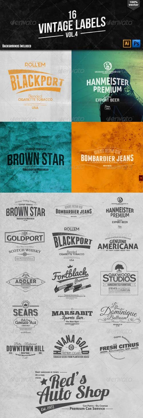 GraphicRiver 16 Vintage Labels and Badges Vol.4