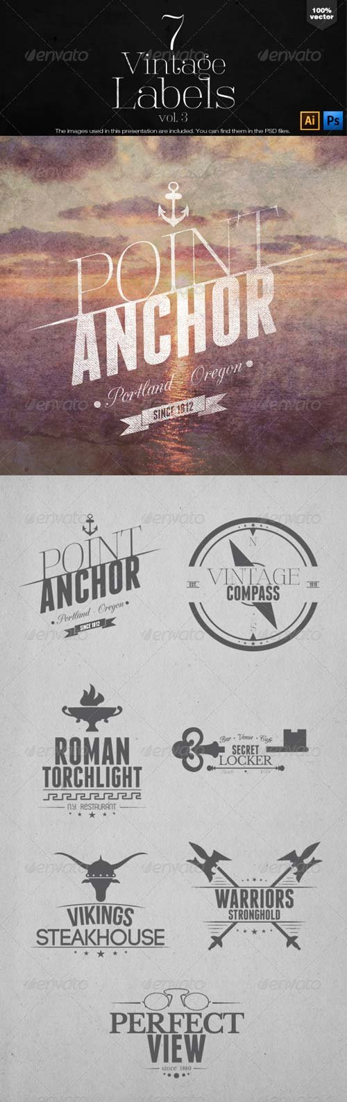 GraphicRiver Vintage Labels and Badges Vol.3
