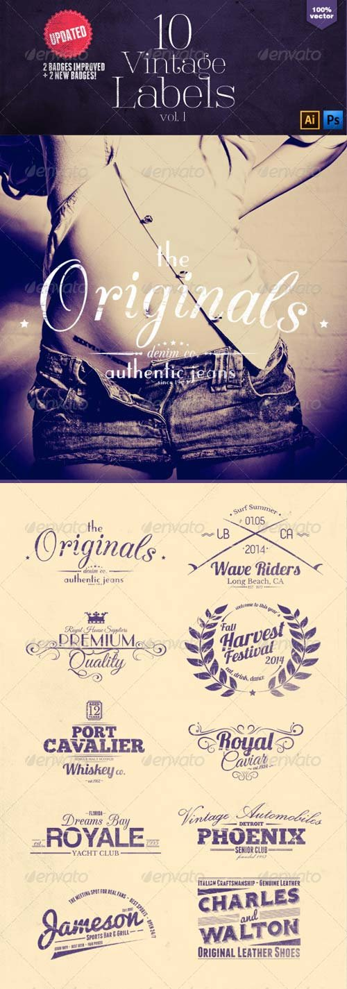 GraphicRiver Vintage Labels and Badges Vol.1