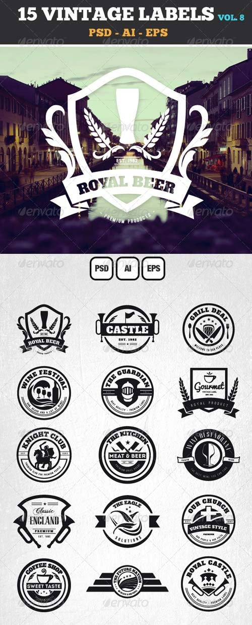 GraphicRiver 15 Retro Vintage Labels and Badges Logos V8