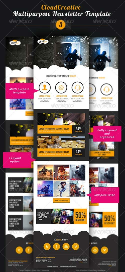 GraphicRiver Cloud Creative Multipurpose E-newsletter Template