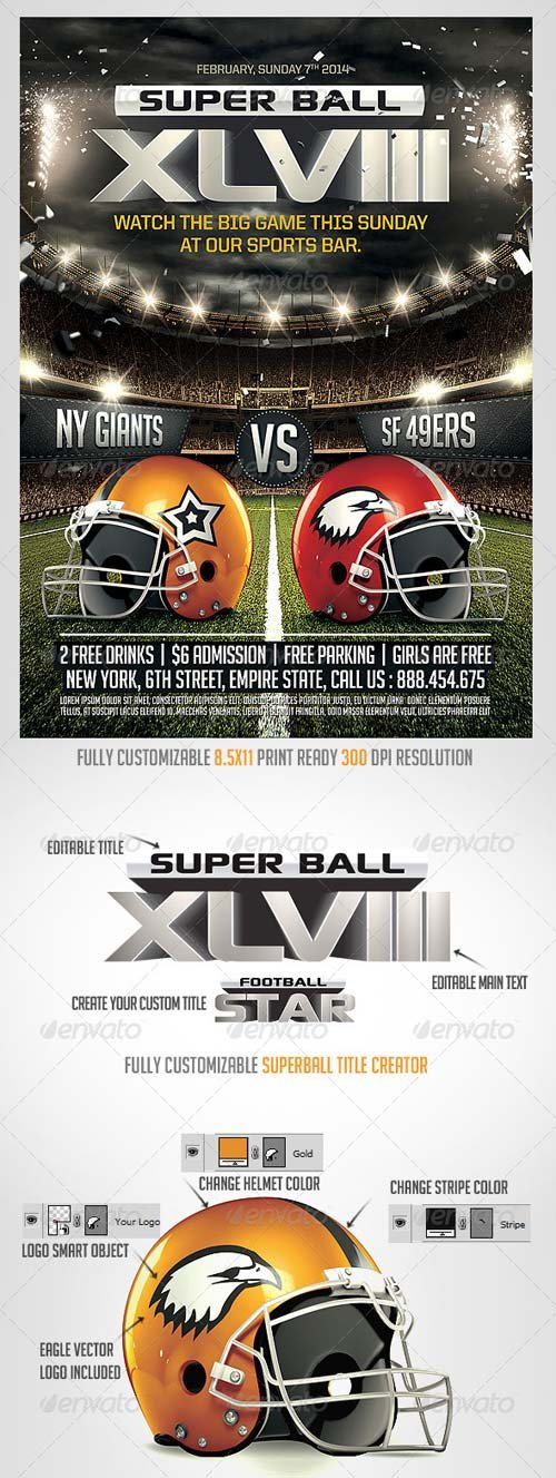 GraphicRiver Super Ball Football Flyer Template