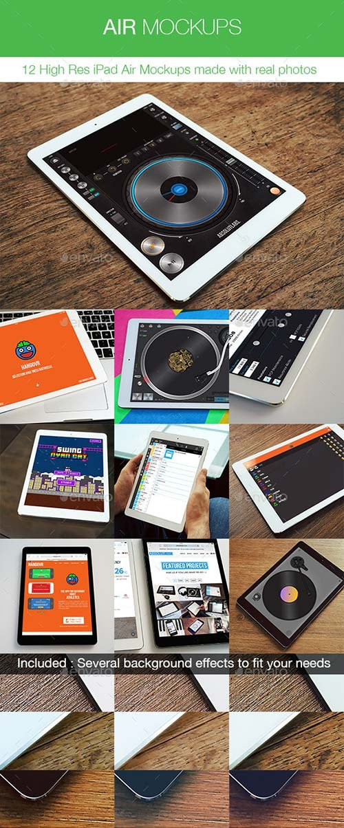 GraphicRiver Air Mockups - 12 iPad Air Real Photos Mockups