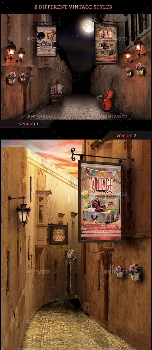 GraphicRiver Vintage Streets Mock-Up Templates