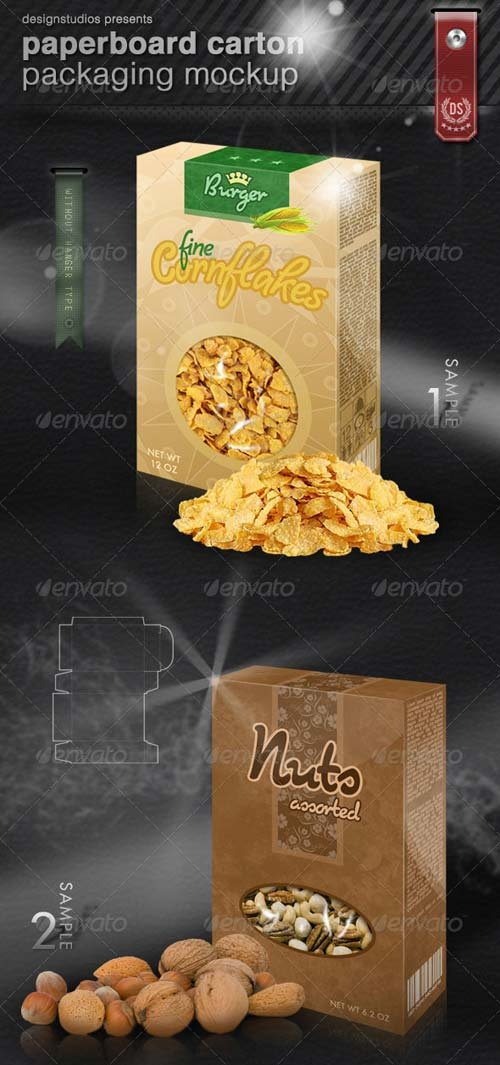 GraphicRiver Paperboard Carton Packaging Mock-Up