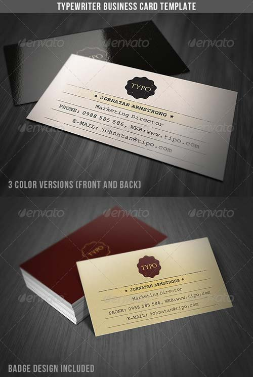 GraphicRiver Typewriter Business Card Template