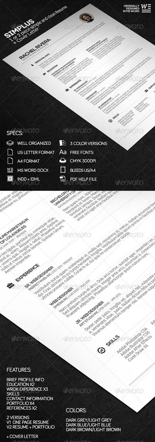 GraphicRiver SIMPLUS - 1 or 2 Piece Simple and Clean Resume