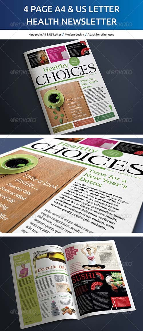 GraphicRiver 4 Page A4 and US Letter Healthy Living Newsletter