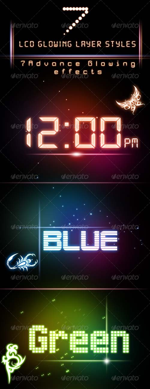 GraphicRiver LCD Glowing Layer Styles