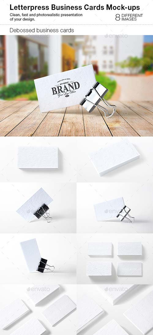 GraphicRiver Letterpress Business Cards Mock-Ups
