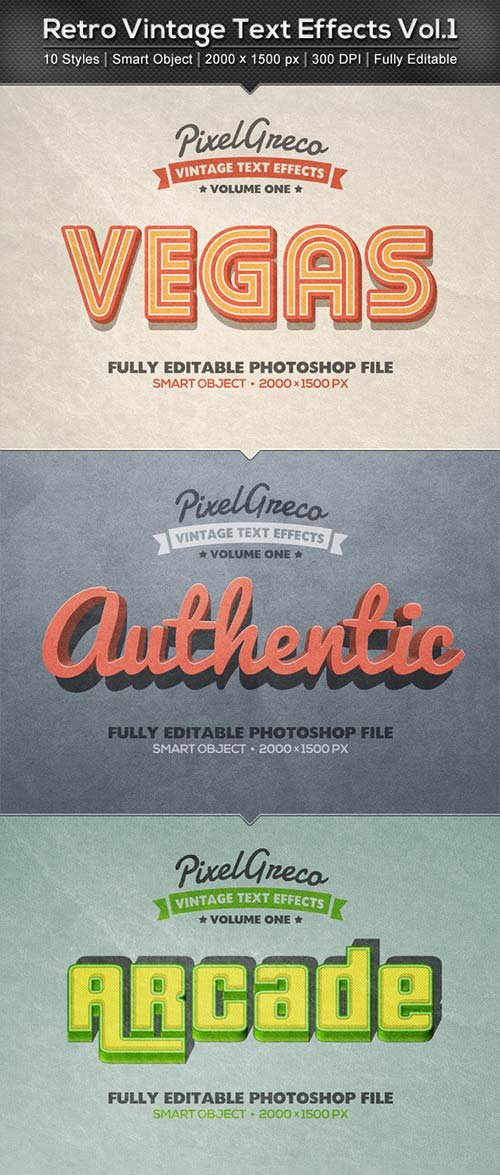 GraphicRiver Retro Vintage Text Effects Vol.1