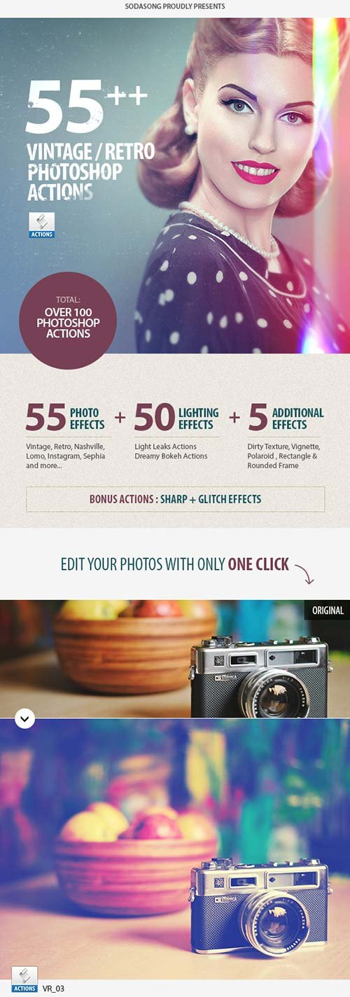 GraphicRiver 55+ Vintage / Retro Effects - Photoshop Actions