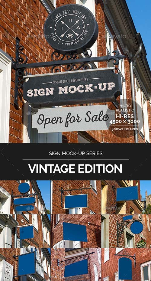 GraphicRiver Sign Mock-Up • Vintage Edition