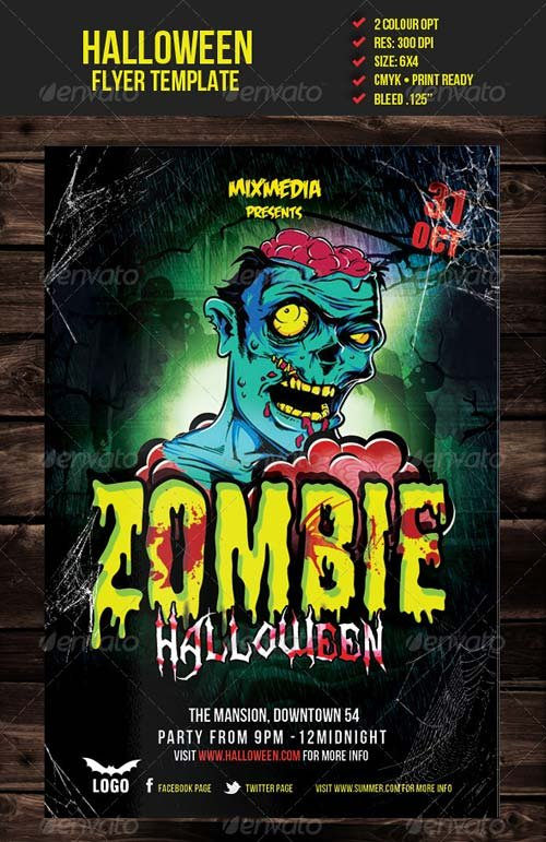 Flyer Templates GraphicRiver Zombie Halloween Flyer Template – Zombie Flyer Template