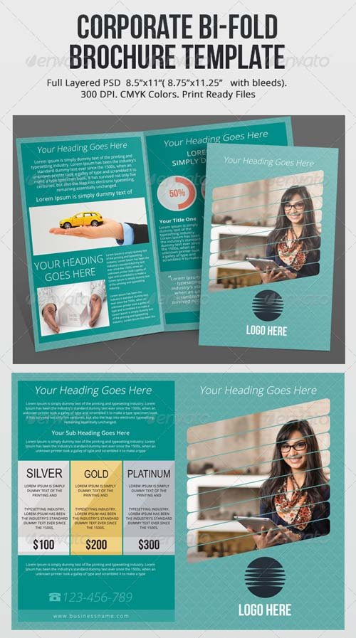 GraphicRiver Corporate Bi-Fold Brochure PSD Template