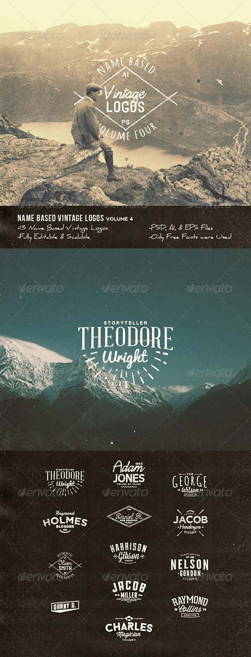 GraphicRiver 13 Name Based Vintage Logos Volume 4