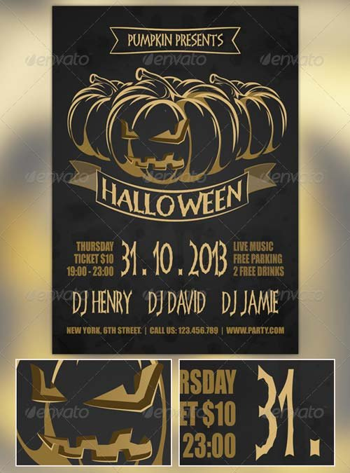 GraphicRiver Golden Halloween Flyer