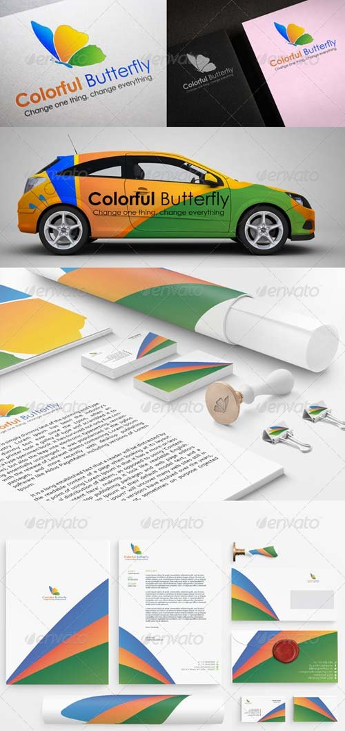 GraphicRiver Colorful Butterfly Stationary Printing Templates