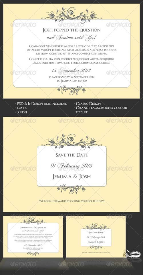GraphicRiver Classic Wedding/Engagement Invite & Save The Date