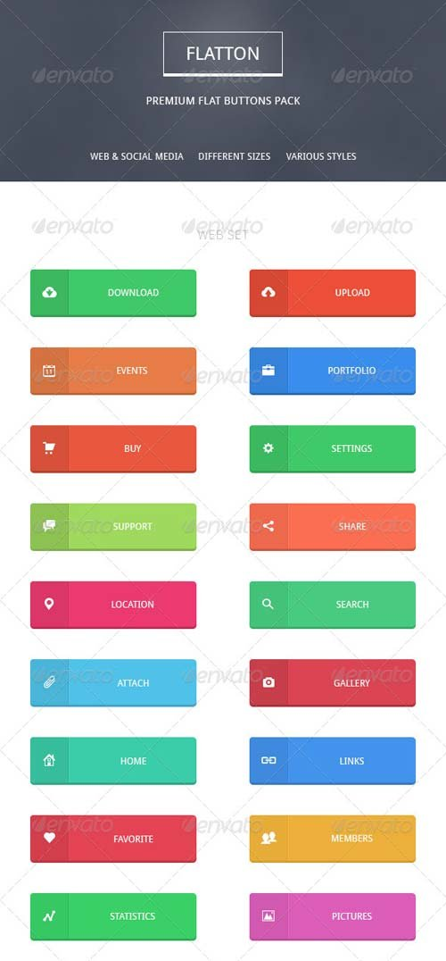 GraphicRiver Flatton - Premium Buttons Pack