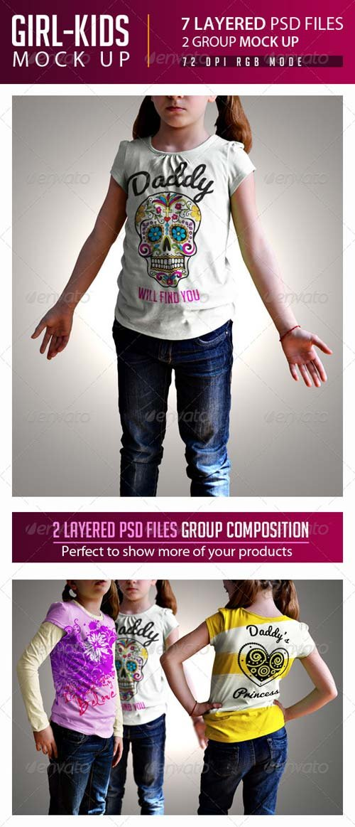 GraphicRiver Girl Kids T-Shirt Mock Up