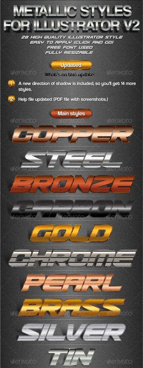 GraphicRiver Metallic Styles for Illustrator V2