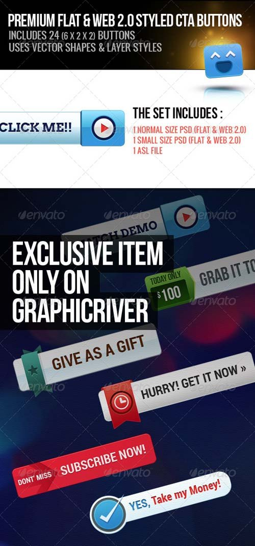 GraphicRiver Premium Flat & Web 2.0 Style Call to Action Button