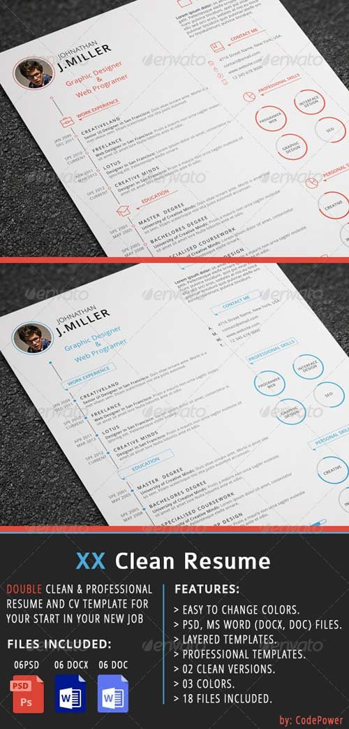 GraphicRiver XX Clean Resume