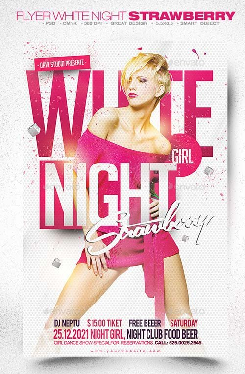 GraphicRiver Flyer White Night Strawberry