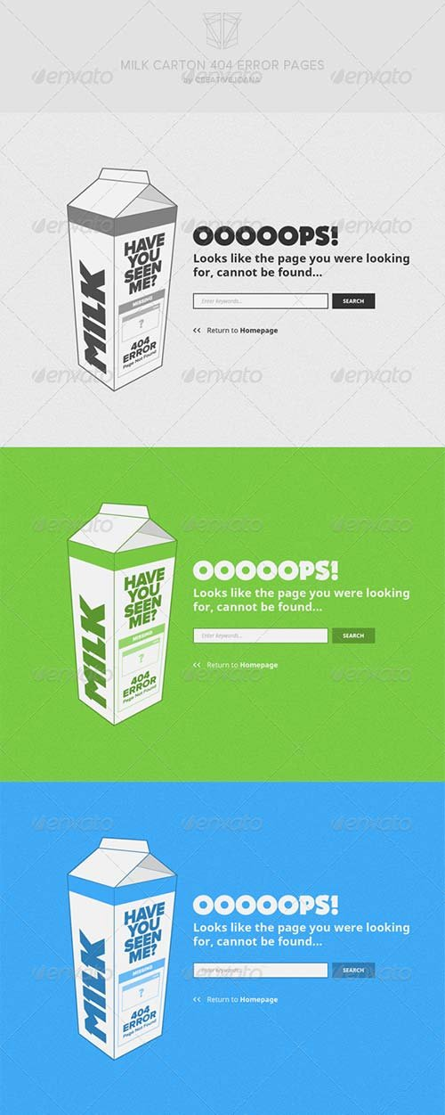 GraphicRiver Milk Carton 404 Error Pages