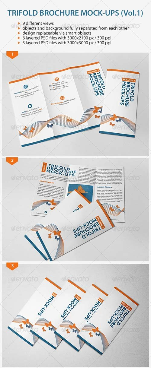 GraphicRiver Trifold Brochure Mock-Ups (Vol.1)