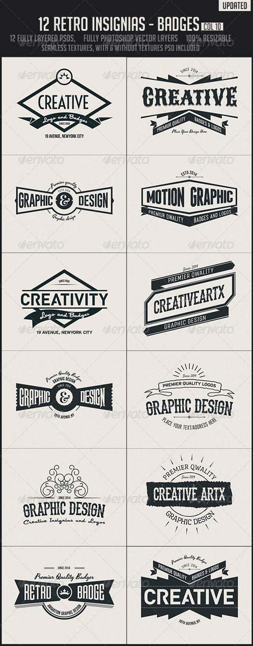 GraphicRiver 12 Retro Insignias - Badges