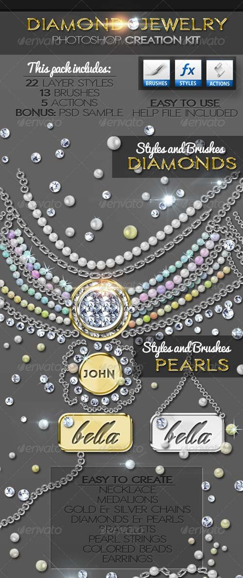 GraphicRiver Diamond Gold Silver and Pearls Jewelry Creator