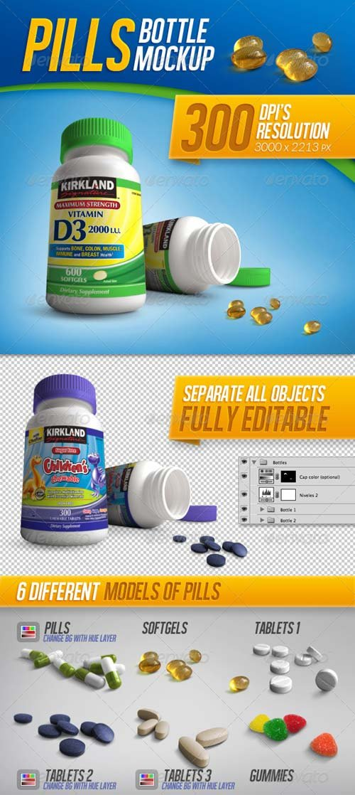 GraphicRiver Tablets, Vitamins and Pills Bottle Mockup Template