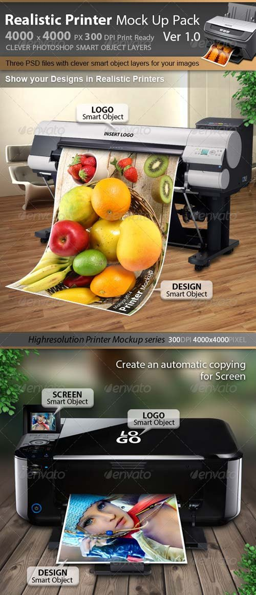 GraphicRiver Realistic Printer & Plotter Mockup V1