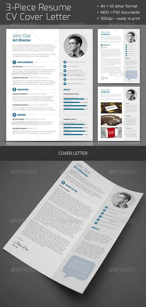 GraphicRiver 3-Piece Resume CV Cover Letter