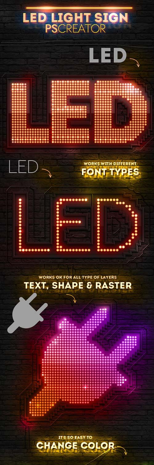 GraphicRiver LED Lights Sign Photoshop Creator