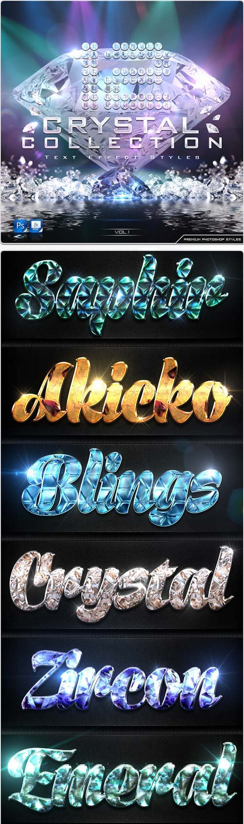 GraphicRiver 12 Crystal Collection Text Effect Styles Vol.1