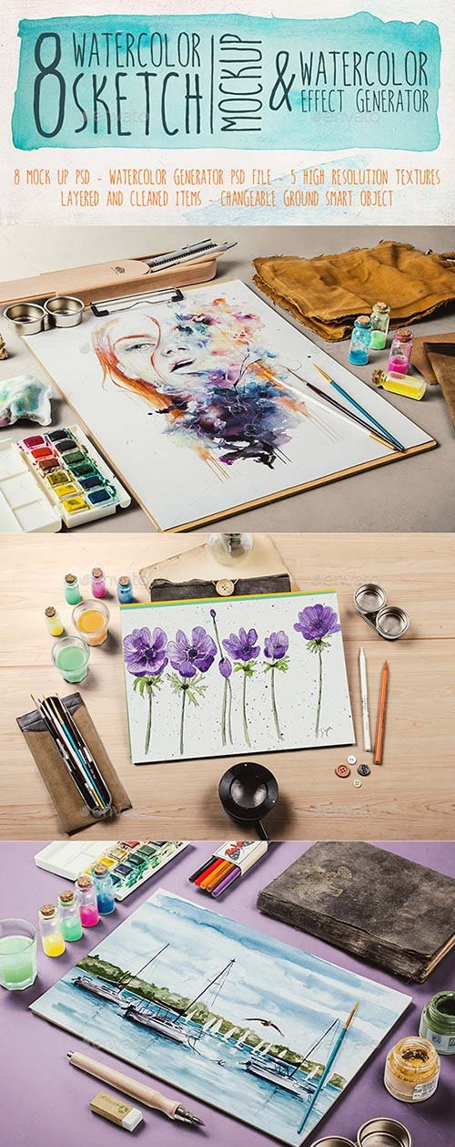 GraphicRiver Watercolor Sketch Mock Up