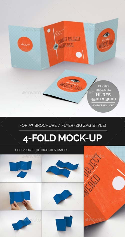 GraphicRiver 4-Fold Brochure Mock-Up - A7 Zig Zag Style
