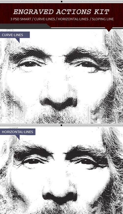GraphicRiver Engrave Photoshop Actions-Kit