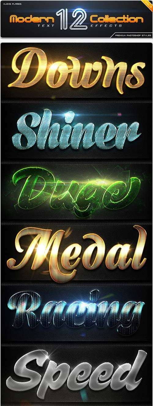 GraphicRiver 12 Modern Collection Text Effect Styles Vol.3