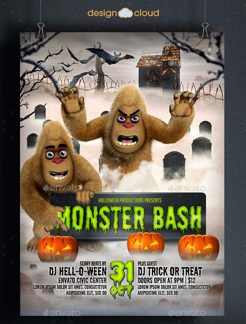 GraphicRiver Halloween Monster Bash Flyer Template