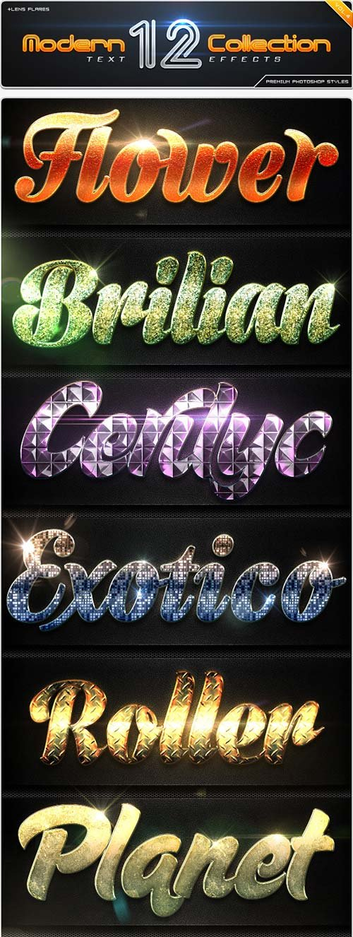 GraphicRiver 12 Modern Collection Text Effect Styles Vol.4