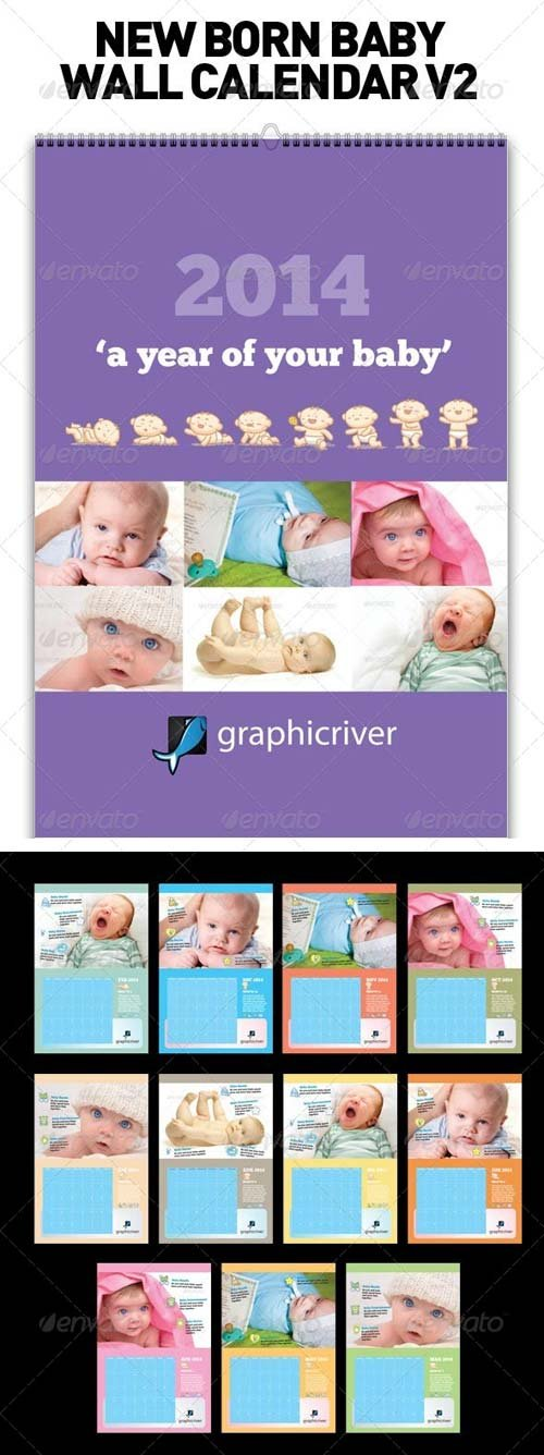 GraphicRiver New Born Baby Wall Calendar V2