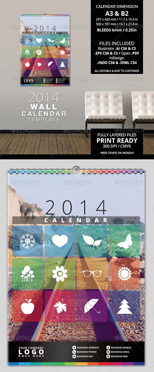 GraphicRiver 2014 Wall Calendar Template
