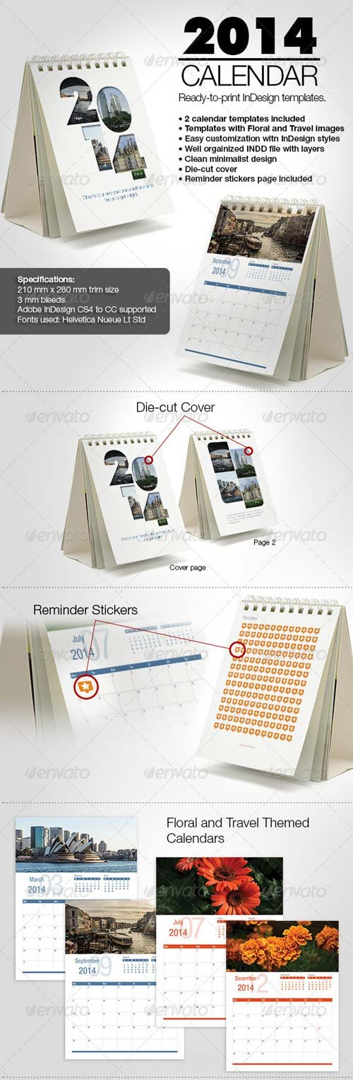 GraphicRiver Minimalist 2014 Calendar InDesign Templates