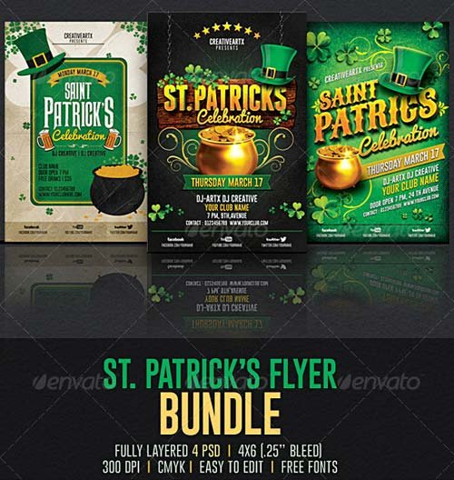 GraphicRiver St. Patrick's Flyer Bundle