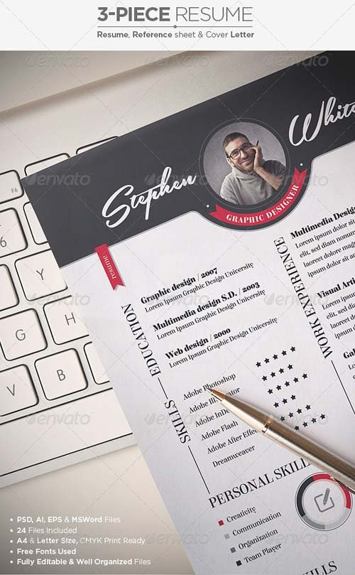 GraphicRiver 3-Piece Resume / CV Set