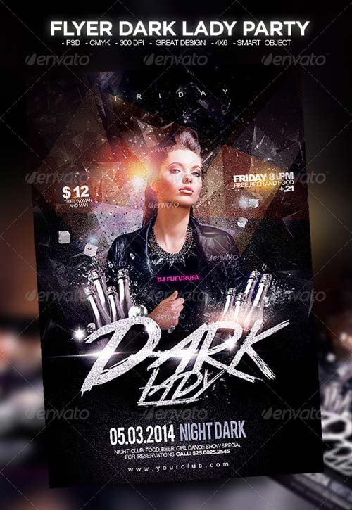 GraphicRiver Flyer Dark Lady Party